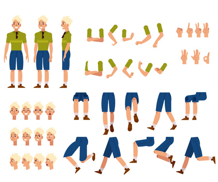 Young man creation set - guy with blonde hair in t-shirt and shorts with sunglasses. Isolated various body parts, face emotions, hand gestures kit of flat male cartoon character. Vector illustration.