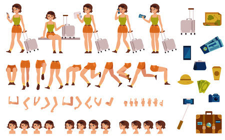 Tourist woman creation kit - set of different body parts, poses, face emotions, gestures and travel accessories. Cartoon character of young travelling girl. Flat vector illustration. Illustration