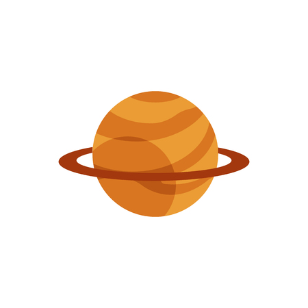 Cosmic planet with ring icon. Space fantastic cosmos object. Orange sphere star with circle orbit. Astronomy, galaxy exploration design object Vector flat illustration