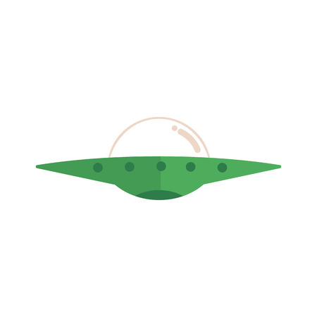 Flying saucer alien spaceship, ufo extraterrestrial creatures transport, vehicle. Science fiction fantastic spacecraft icon. Vector flat isolated illustration
