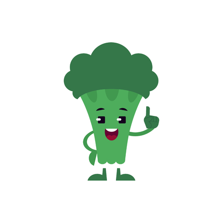 Broccoli holding up index finger with smile on face isolated on white background. Green fresh useful vegetable pointing up, flat cartoon vector illustration.  イラスト・ベクター素材