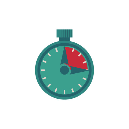 Flat stopwatch illustration isolated on white background. Vector measurement symbol for time management, deadline and performance tasks on time or sport competitions.