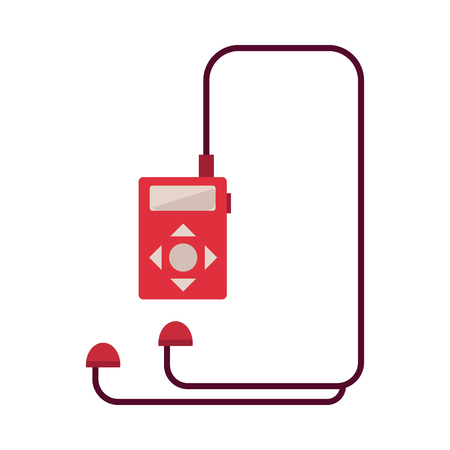 Red music player with headphones isolated on white background. Digital audio recorder with stereo earphones - flat vector illustration of electronic musical device.