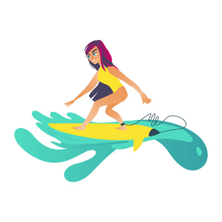 Summertime sea and ocean activity - young girl in swimsuit riding wave on surfboard isolated on white background. Cartoon female character surfboarding in blue water. Vector illustration.