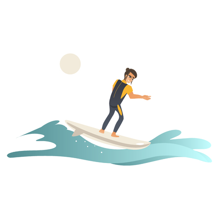 Summertime sea and ocean activity - young man in swimwear riding wave on surfboard isolated on white background. Cartoon male character surfboarding in blue water, vector illustration. Ilustração