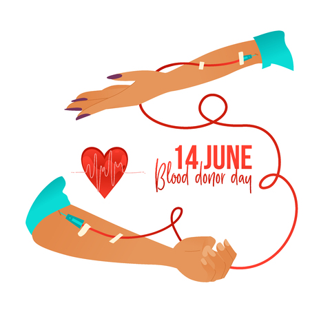 Blood donor day banner with hands during blood transfusion, heartbeat diagram and sign isolated on white background - world giving blood charity. Cartoon vector illustration for 14th June. Illustration