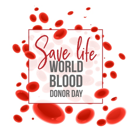 World Blood Donor Day banner with Save Life sign in white square frame on background with red cartoon blood cells. Isolated vector illustration of biology elements for giving blood charity.