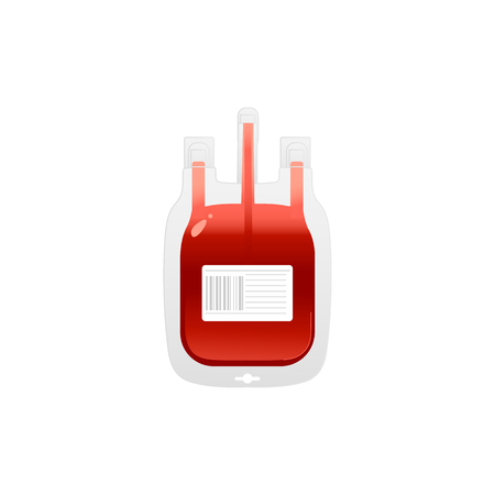 Red plastic blood bag with label icon - giving blood charity element isolated on white background. Cartoon vector illustration of medical equipment for donate blood concept.