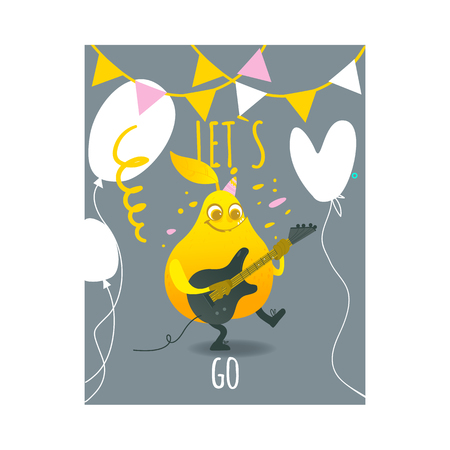 Funny pear happy fruit character smiling holding playing electric guitar. Summer vacation, party poster design template with confetti, buntings and air balloons. Isolated vector illustration,