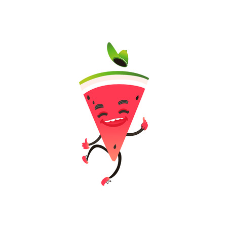 Cheerful watermelon fruit character at summer party. Funny happy watermelon slice in cap jumping, dancing. Summer vacation, party poster design element. Isolated illustration