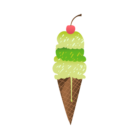Ice cream tasty green dessert in waffle cone, sweet food with berry icon. Travelling, beach vacation symbol Summer holiday poster, banner design element. Isolated vector cartoon illustration