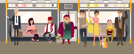 People in subway inside train sitting, standing and holding on to handrails while riding in underground rail car. Cartoon vector illustration of men and women in public transport. 일러스트