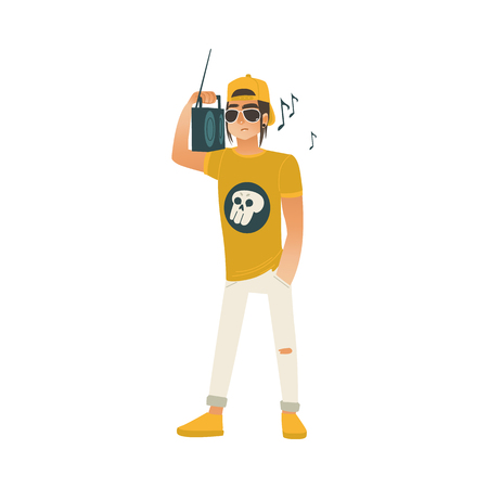 Young man with boombox on shoulder listening to music and having fun on summertime. Isolated cartoon male character in cap for summer leisure concept. Vector illustration.