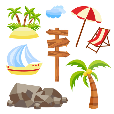 Vector flat travelling, beach vacation symbols icon set. Summer holiday rest elements - sand island with palm, wooden sign with direction, sun umbrella lounger yacht stone clouds. Isolated illustration Illustration