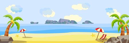 Vector paisaje costero costero plano natural. Cartel de fiesta de playa tropical, plantilla de fondo de banner. Ilustración con mar, océano nube cielo arena tumbona sombrilla palma vacaciones viajes vacaciones Ilustración de vector