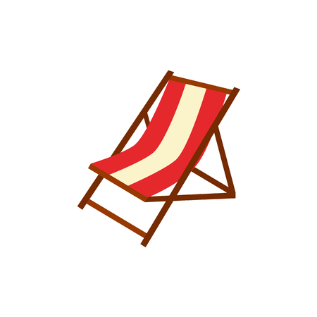 Vector flat travelling, beach vacation symbol beach striped red white lounger icon. Summer holiday poster, banner design element. Isolated illustration, white background