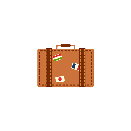 Vector cartoon travel beach vacation symbol retro vintage travelling bag with marks, country symbols icon. Summer holiday poster, banner design element. Isolated illustration, white background
