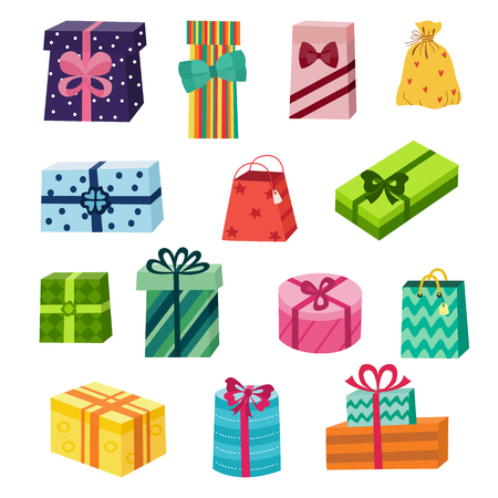 Set of colourful round and square gift, present boxes and shopping bags, flat cartoon vector illustration isolated on white background. Collection of gift, present boxes in colourful wrapping paper