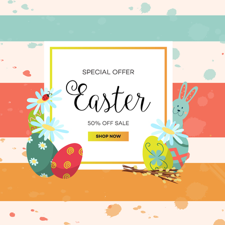 Easter sale poster template with flowers and eggs Ilustração