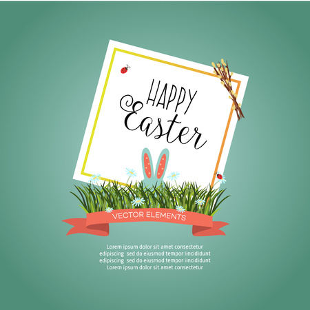 Happy Easter poster template with rabbit ears and green grass,