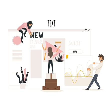 Web development concept with people attaching titles and articles, banners with illustrations and statistics on web page isolated on white background. Vector illustration.