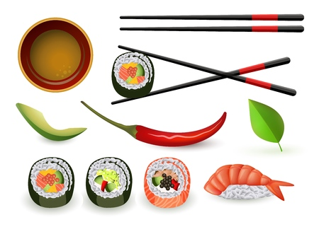 Sushi japanese seafood set with fresh rolls and ebi nigiri, soy sauce in bowl and chopsticks, ripe avocado and chili pepper isolated on white background. Realistic vector illustration. Illustration
