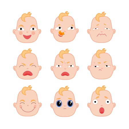 Set of baby boy facial expressions, flat vector illustration isolated on white background. Set of baby faces showing different emotions - happy, sad, surprised, angry, frustrated, annoyed, with binky Illustration