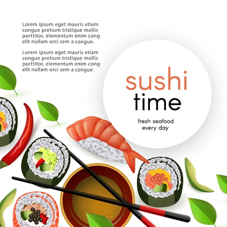 Japanese sushi restaurant template with rolls and nigiri with soy sauce and chopsticks isolated on white background. Realistic asian seafood banner with copy space, vector illustration.