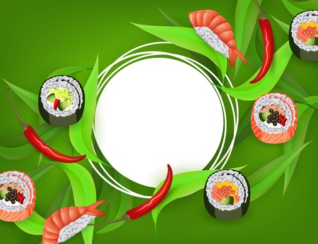 Sushi banner with rolls, ebi nigiri and chili pepper isolated on green background with white round copy space - japanese traditional seafood restaurant concept design. Vector illustration.