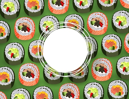 Sushi banner with fresh rolls pattern on green background and white round sticker with empty space for text - realistic japanese traditional seafood restaurant concept design. Vector illustration. Illustration