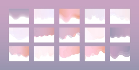 Website header design set in trendy pastel colors with gradient and color transition - collection of various colorful abstract elements for web development. Vector illustration.