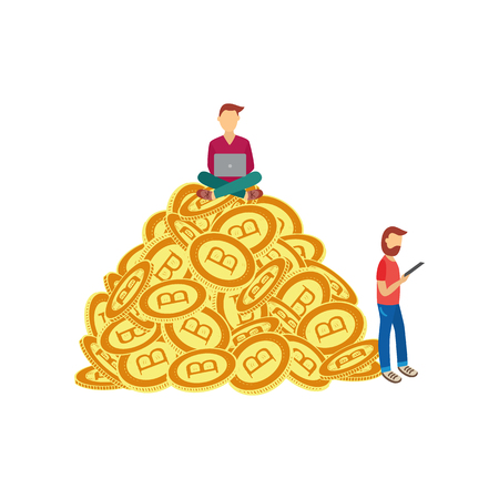 Vector flat bitcoin mining concept. Male miner character sitting at pile of golden bit coins with laptop another man standing with clipboard calculating profits. Isolated illustration white background