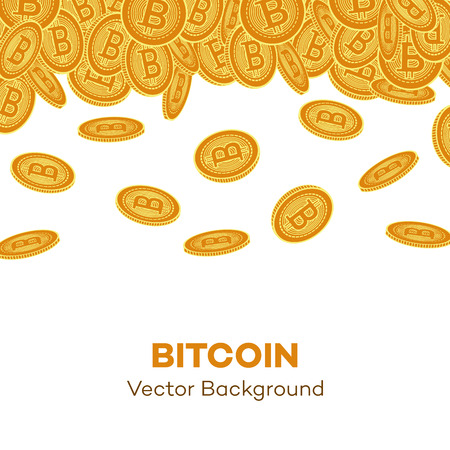 Vector flat falling bitcoin rain, Golden coins icon with space for text. Mining crypto currency, virtual money elements. Digital economy, blockchain sign. Isolated illustration on a white background. Archivio Fotografico - 99998713