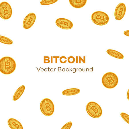 Vector flat falling bitcoin rain, Golden coins icon with space for text. Mining crypto currency, virtual money elements. Digital economy, blockchain sign. Isolated illustration on a white background.
