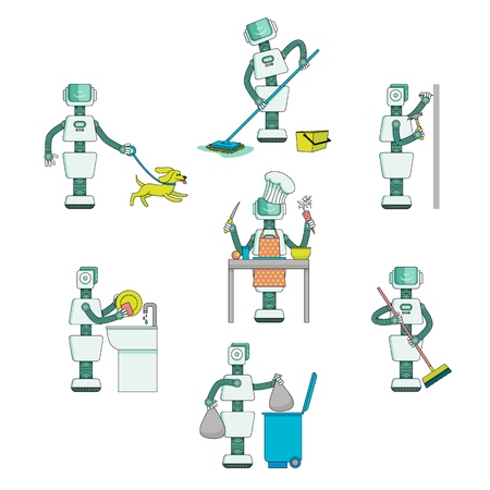 Robots do housework - wash dishes and floor, cook, take garbage out, walk the dog, drive nails into wall, flat vector illustration isolated on white background. Robots do routine chores, housework