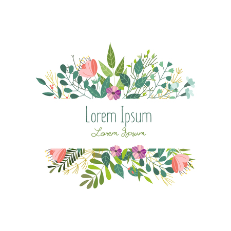 Square decoration element with flowers, leaves and herbs, greeting card, banner template, vector illustration isolated in white background. Doodle flowers, leaves and herbs, square decoration element