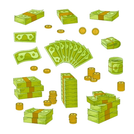 Set of various wads, stacks, rolls and piles of dollars, banknotes, bills, coins, flat vector illustration isolated on white background. Set of money - dollars, banknotes, bills and coins Illustration