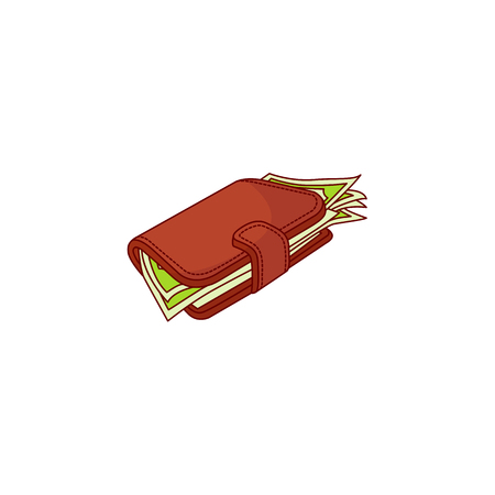 Red wallet, purse full of dollar money banknote. Business finance, bank loan credit, saving and payment symbol. Isolated illustration on a white background.