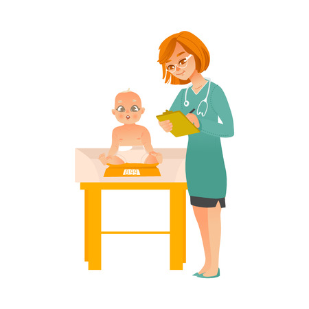 Female pediatrician doctor examines baby on scheduled checkup isolated on white background. 矢量图像