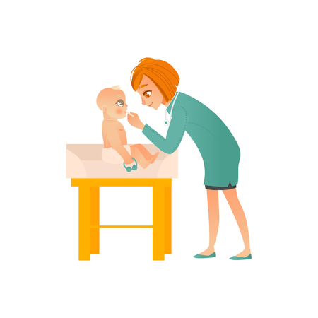 Female pediatrician doctor examines baby on scheduled checkup isolated on white background - medical professional checks child throat and mouth in office, cartoon vector illustration.