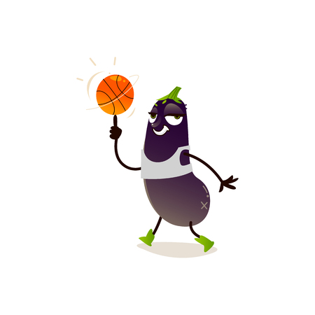 Cheerful eggplant, aubergine character with basketball ball working out. Vegetable cute healthy organic food full of vitamin. Cartoon smiling hand drawn plant with arms, legs. Vector illustration