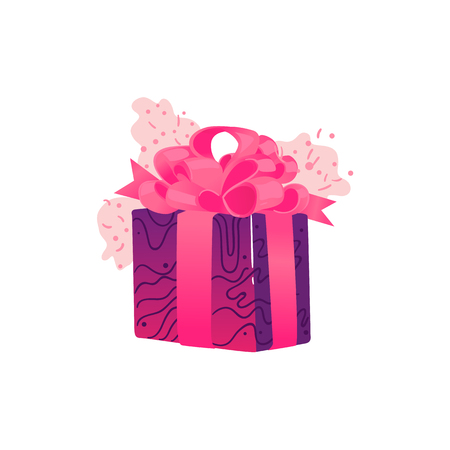 Present box wrapped with pink and purple decorative paper and ribbon with big lush bow isolated on white background - cartoon square gift box for congratulation card. Vector illustration. Illustration