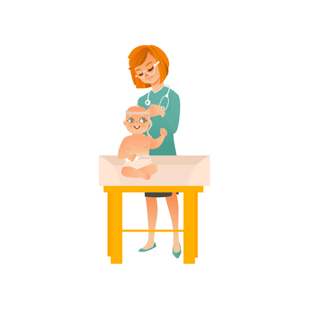 Female pediatrician doctor examines baby on scheduled checkup isolated on white background. Medical professional measures size of child head. Cartoon vector illustration.