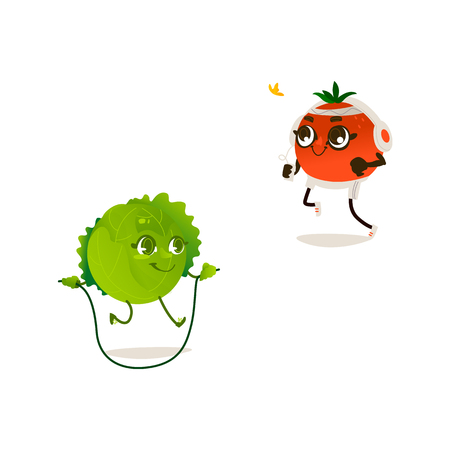 Cheerful sport vegetable, fruits characters set. Cabbage doing skipping rope exercise, orange jogging in headphones. Funny cute healthy organic food full of vitamin. Cartoon Vector illustration