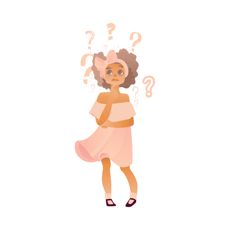 Young cute caucasian woman in dress with bow in hair thinking. Beautiful character standing thoughtful pose holding chin thinking with questions above head portrait. Isolated vector illustration Ilustração