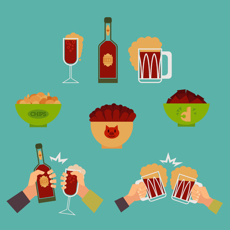 Alcohol drink and snacks set. Vector flat isolated illustration