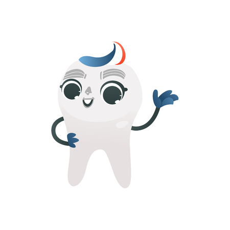 White healthy tooth with tricolored toothpaste hairstyle standing happy and waving. Isolated cartoon smiling medical character for dental health and oral care concept. Vector illustration. Illustration