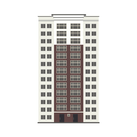 Apartment or office building house exterior icon. City modern architecture, dormitory area object.