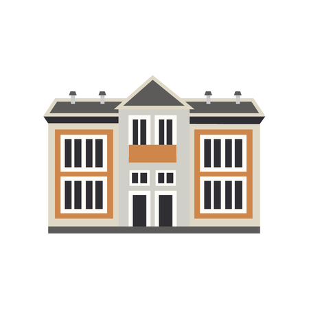 Private house cottage exterior icon. City modern architecture, dormitory area object. Dwelling house, residental building. Cityscape design element. Vector flat illustration