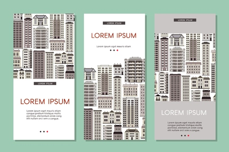 Urban house banners set with various multistorey apartment, public and office buildings on white background. Real estate and property vertical posters, vector illustration.